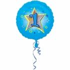 Zila folijas balons ar zvaigzne un ciparu 1 43 cm ar heliju