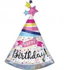 """Folijas hēlija balons """"Dzimšanas dienas cepurīte"""", prizmatiskais, izmērs 68 x 91 cm,"""