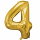 "26""/66cm x 34""/86cm Skaitlis 4 Folija balons Super figure Zelts"