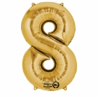 "26""/66cm x 34""/86cm Skaitlis 8 Folija balons Super figure Zelts"