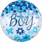 Caurspīdigs hēlija balons bērna piedzimšanai, gaiši zils, ar konfeti, izmērs 73cm