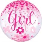 Caurspīdigs hēlija balons bērna piedzimšana, rozā, ar konfeti, izmērs 73cm