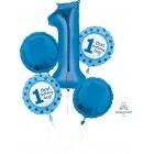 """5 balonu komplekts """"1. Dzimšanas Diena"""" puišiem – 1 balons x 86 cm. un 4 baloni x 45 cm, baloni piepūšami ar hēliju"""