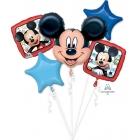 """5 balonu komplekts """"Peļuks Mikijs / Mickey Mouse"""" – 1 balons x 76 cm. un 4 baloni x 45 cm, baloni piepūšami ar hēliju"""