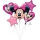 """5 balonu komplekts """"Pelīte Minnija / Minnie Mouse"""" – 1 balons x 76 cm. un 4 baloni x 45 cm, baloni piepūšami ar hēliju"""