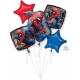 """5 hēlija balonu komplekts """"Zirnekļcilvēks / Spiderman"""" – 1 balons x 73 cm. un 4 baloni x 45 cm, baloni piepūšami ar hēliju"""