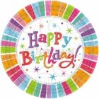 šķīvji ar attelu prizmatiskas . Tema - parsteidzošs dzimšanas diena, 22.8 cm, 8 gab