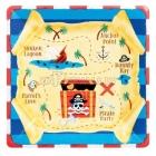Тарелки с рисунком квадратные. Тема  - пиратские сокровища, 17.7 см,  8 шт