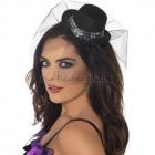 Карнавальная шляпка мини-цилиндр на обруче с блёстками и сеточкой