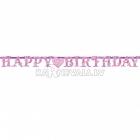 Бумажная гирлянда с днем рождения, Принцесса, 2.21 м x 17.7 см