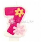 """Свеча - цифра для торта, """"7"""", розовая, 8 см"""