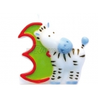 """Свеча - цифра для торта, """"3"""", Сафари, 8 см"""