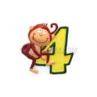 """Свеча - цифра для торта, """"4"""", Сафари, 8 см"""