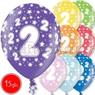 """12""""/30 cm lateksa baloni, 2 dzimšanas diena, assortimenta  dažadas krasas, 15 gab."""