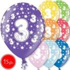 """12""""/30 см шар из латекса, 3 день рождения,  в ассортименте  8 цветов, 15 шт."""