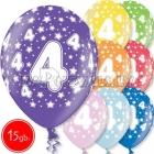 """12""""/30 см шар из латекса, 4 день рождения,  в ассортименте  8 цветов, 15 шт."""