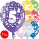 """12""""/30 см шар из латекса, 5 день рождения,  в ассортименте  8 цветов, 15 шт."""