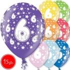 """12""""/30 см шар из латекса, 6 день рождения,  в ассортименте  8 цветов, 15 шт."""