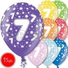 """12""""/30 см шар из латекса, 7 день рождения,  в ассортименте  8 цветов, 15 шт."""