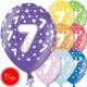 """12""""/30 cm lateksa baloni, 7 dzimšanas diena, assortimentā 8 dažādas krāsas, 15 gab."""