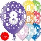 """12""""/30 см шар из латекса, 8 день рождения,  в ассортименте  8 цветов, 15 шт."""