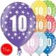 """12""""/30 cm lateksa baloni, 10 dzimšanas diena, assortimentā 8 dažādas krāsas, 15 gab."""