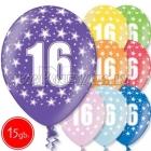 """12""""/30 см шар из латекса, 16 день рождения,  в ассортименте  8 цветов, 15 шт."""