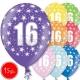 """12""""/30 cm lateksa baloni, 16  dzimšanas diena, assortimentā 8 dažādas krāsas, 15 gab."""