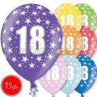 """12""""/30 см шар из латекса, 18 день рождения,  в ассортименте  8 цветов, 15 шт."""