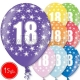 """12""""/30 cm lateksa baloni, 18  dzimšanas diena, assortimentā 8 dažādas krāsas, 15 gab."""