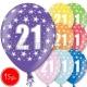 """12""""/30 cm lateksa baloni, 21 dzimšanas diena, assortimentā 8 dažādas krāsas, 15 gab."""