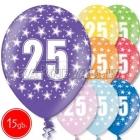 """12""""/30 cm lateksa baloni, 25 dzimšanas diena, assortimenta  dažadas krasas, 15 gab."""