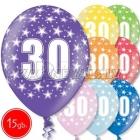 """12""""/30 см шар из латекса, 30 день рождения,  в ассортименте  8 цветов, 15 шт."""