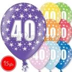 """12""""/30 см шар из латекса, 40 день рождения,  в ассортименте  8 цветов, 15 шт."""