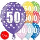 """12""""/30 см шар из латекса, 50 день рождения,  в ассортименте  8 цветов, 15 шт."""