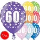 """12""""/30 см шар из латекса, 60 день рождения,  в ассортименте  8 цветов, 15 шт."""