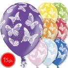 """12""""/30 см шар из латекса, Бабочки, 15 шт."""