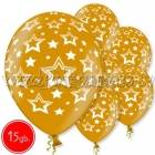 "12""/30 cm lateksa baloni, Zvaigznes, zelts,15 gab."