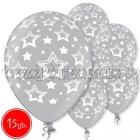"12""/30 cm lateksa baloni, Zvaigznes, sudrabs,15 gab."