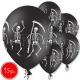 "12""/30 cm lateksa baloni, Skeletsi, melna, 15 gab."