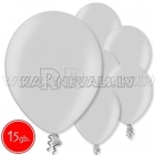 """10.5""""/27cm lateksa balons, metalliks, sudrabs, 15 gab."""