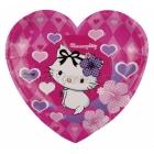 šķīvji ar attelu, sirdsveida, Hello Kitty, Charmmy Kitty, 20cm,6 gab