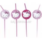 Трубочки для коктейля, Hello Kitty, Charmmy Kitty , розовые, 24 см, 8 шт.