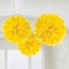 ПОМПОНЫ бумажные - подвесная декорация,  желтые 40.6см., упаковка 3 шт.
