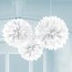 Zīdpapīra bumbas-pomponi, komplektā 3 gab., diam. 41 cm, baltā krāsā.