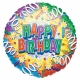 """18""""/45cm шар из фольги Серпантин  Тема: День рождения"""