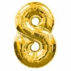 "26""/66см x 34""/86см Цифра 8 Шар из фольги Золото Супер фигура"