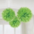 Pukaina  papira dekoracija, 40.6cm, zaļš, 3.gab. iepakojumā.
