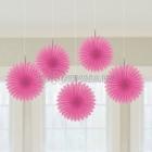 ПОМПОНЫ бумажные - подвесная декорация, розовая, 15,2см., упаковка 5 шт.