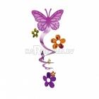 Бумажная декорация  фольга спираль  бабочки  63.5см